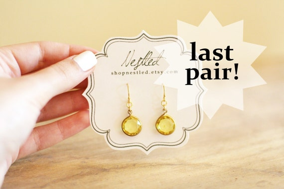 Canary Yellow Vintage Lucite Drop Earrings