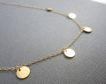 Gold disc necklace, Small disc necklace, 5 Gold filled disc Coin Necklace, Wedding necklace,  Bridesmaid necklace, celebrity inspired