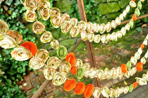 Fall Wedding Garland paper flower garland Pumpkin, Green and Ivory 21 Feet