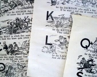 1930s BIRDS ABC ALPHABET 3 Doublesided illustrations