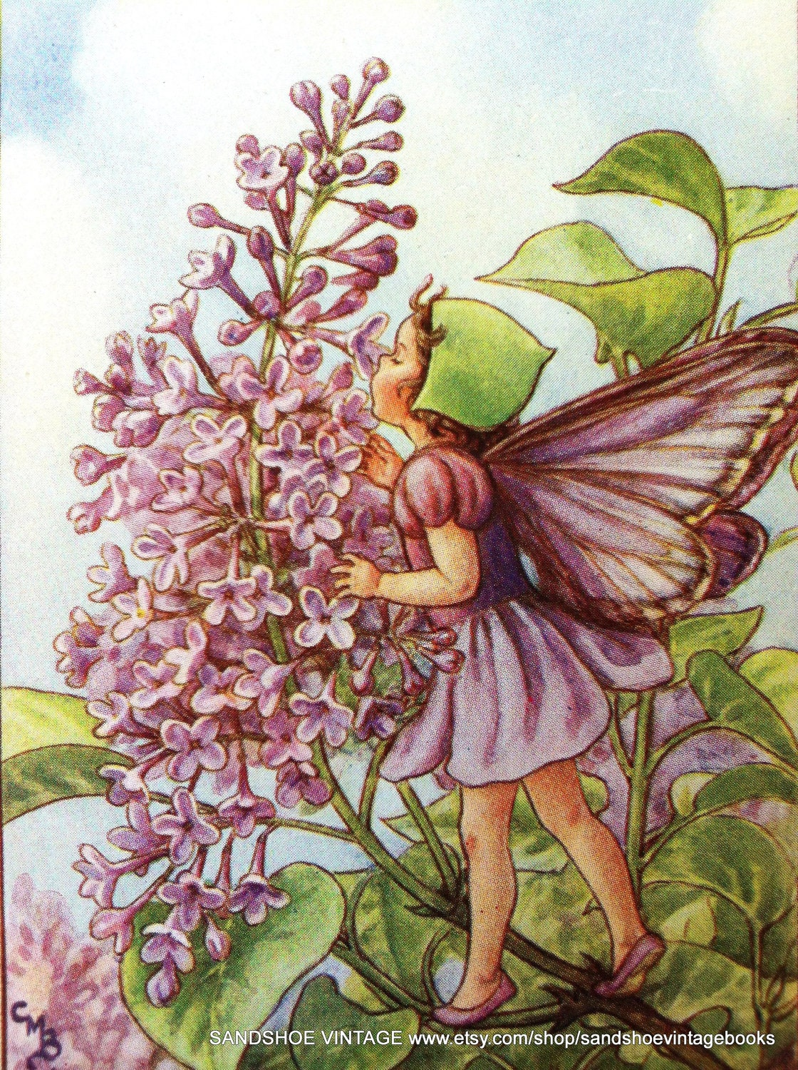 1930s LILAC FAIRY Cicely Mary Barker PRINT Ideal for Framing