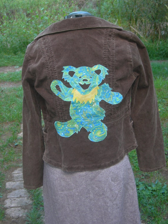 Applique Dancing Bear on Up-Cycled Corduroy Jacket
