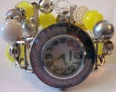 Chunky Beaded Interchangeable Yellow, White and Slate Watch Band and Face