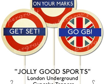 PRINTABLE British Party Circles Cupcake Toppers sports (digital printable file)