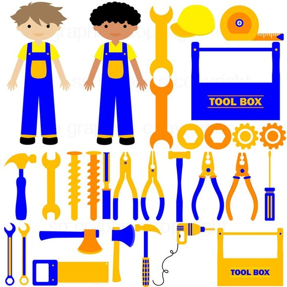 Construction Tool Box clipart for cards scrapbooking