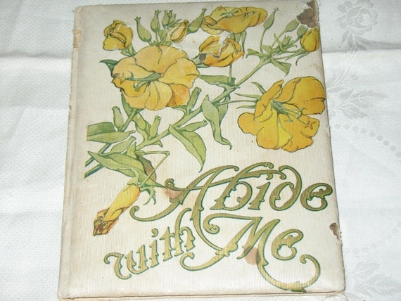 1909 Book Abide with Me Color Illustrated Hymn by H F Lyte Flower Prints Edwardian Antique