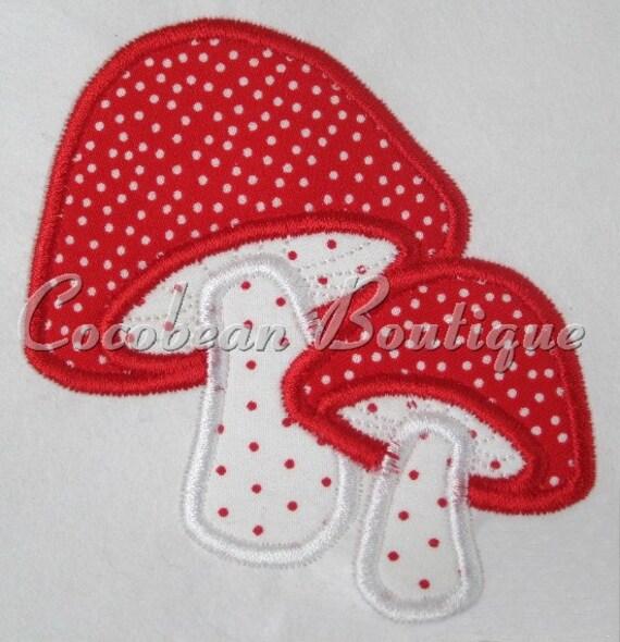 Mushroom embroidery applique