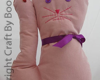 Pink Novelty Cat Cushion