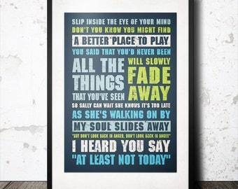 Personalized Favourite Music Lyrics Word Art Pop Typography