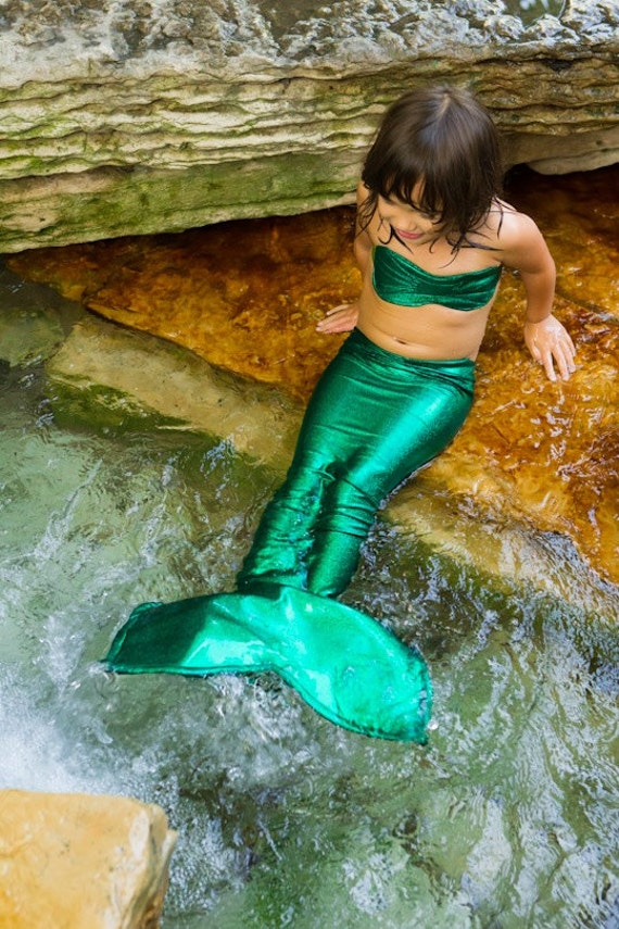 Little Mermaid Costume Girls Green Mermaid Tail For Little & Little Mermaid Tail Costume - Meningrey