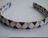 Match school uniform Woven Ribbon Headband NEW khaki, denim blue , white 1/2 inch