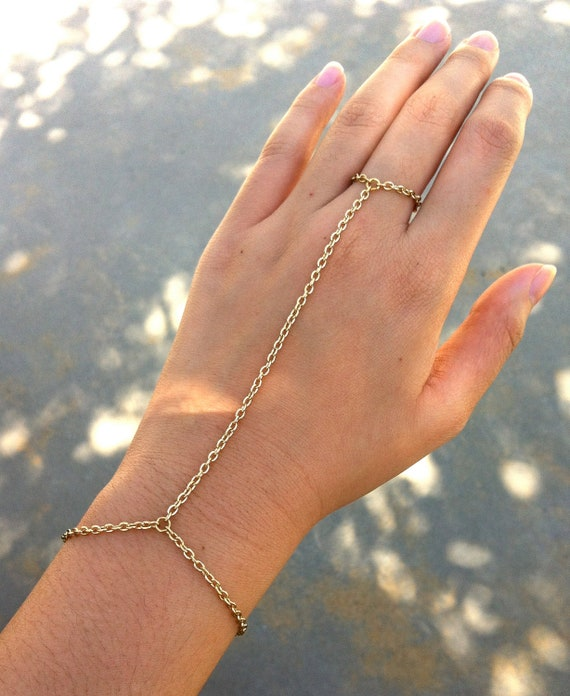 SALE Gold Color Chain Link Bracelet Ring Connector Hand Harness No Changes