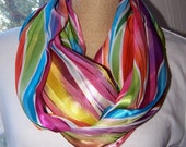SALE!!!  Infinity Scarf Colorful Satiny Rainbow Stripes