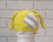 Lime Green Baby Photo Shoot Hat. Newborn Double Knot HAT. Upcycled Baby.