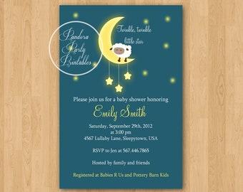 Lullaby Sheep Baby Shower Invitation - DIY Custom Printable