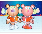 Bears card, single card, Christmas, greeting card, bears, couple, snow, from both of us, to both of you