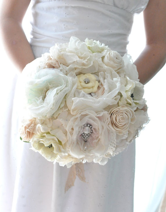 Vintage wedding bouquet, Deposit for oldworld charm lace, pearls among paper flowers and seafaom, blush pink and pastel peach fabric flowers