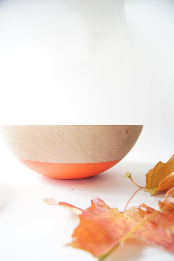 "Wooden Salad Bowl, 10"" Neon Orange. Cherry wood, Fall Decor"