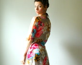 handmade batwing top, silk caftan dress. peach beach shells and floral print. one size. in stock