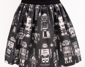 Grey & White Robots Full Skirt