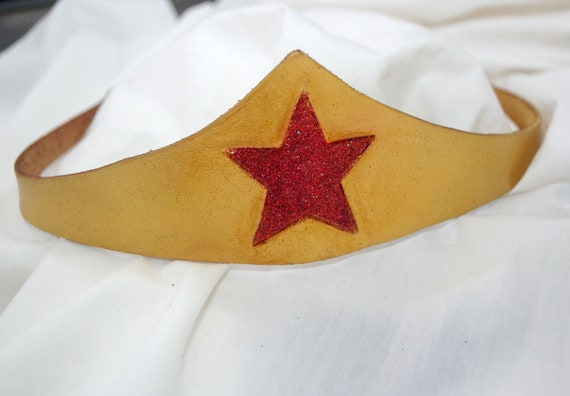 Gold and Red Star Amazon Heroine Leather Cosplay Crown