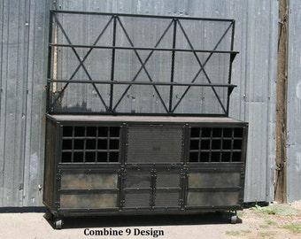 Vintage Industrial Liquor Cabinet/Bar. Urban, Loft Decor. Hutch, media console, bar cart, Mid Century Modern, credenza