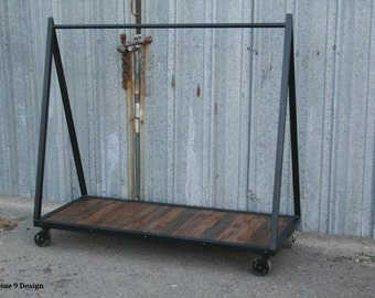 Clothing Rack, Garment Rack, Vintage/Modern Industrial.  Reclaimed Wood. Great for Loft. Customizable.