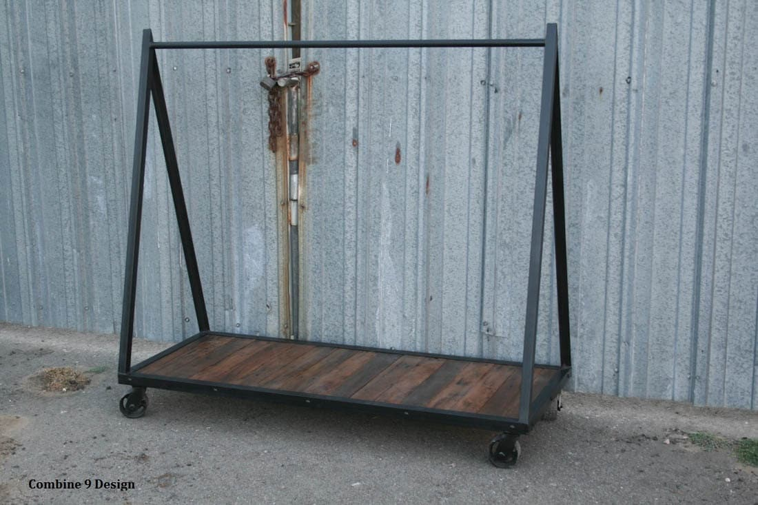 Vintage modern clothing rack rustic industrial garment