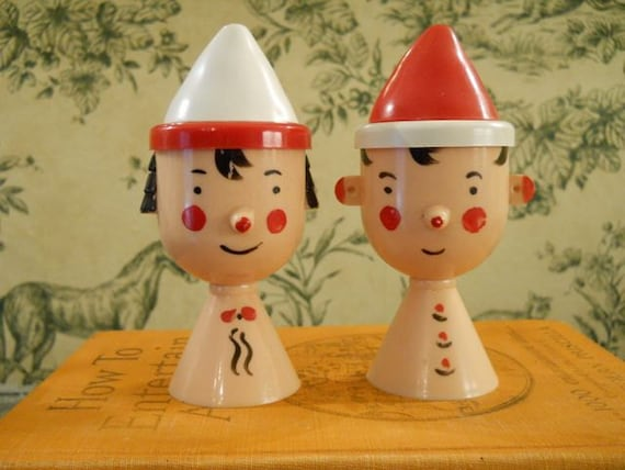 Plastic Salt and Pepper Shakers - Boy and Girl Heads With Red and White Hats