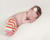 Infant leg warmers with matching headband.  Fun newborn photo prop.