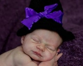 Crochet Witch hat with purple ribbon size newborn