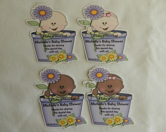 Unique Personalized A Baby is Blooming Baby Shower Birthday Party Favor Gift Tags or Any Occassion