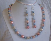 Unique Pink and Blue Necklace & Earring Set - Blue Cat's Eye Glass Beads and Pink Glass Pearl Beads