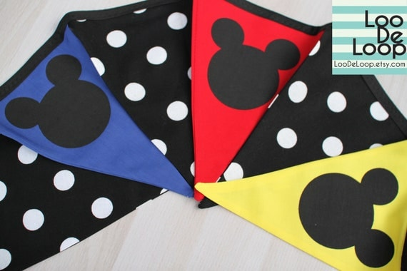 CUSTOM LISTING for BRENDA - Set of 2 Mickey Mouse Clubhouse Fabric Party Bunting Banner