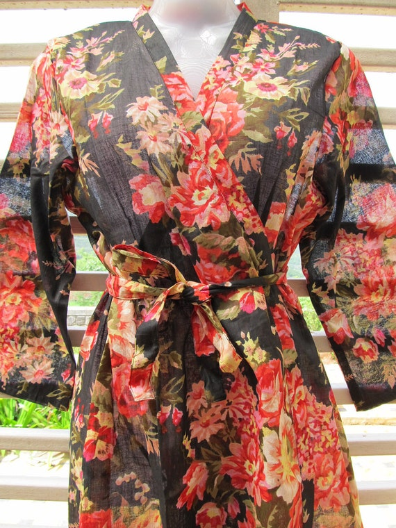 Black floral kimono getting ready robe crossover style - bridesmaids gift, bridal shower party, party favors, wedding photo prop