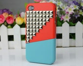 Silvery  Studs Combination Cover Up And Down For Apple iPhone 4gs Case, iPhone 4s Case, iPhone 4 Hard Case