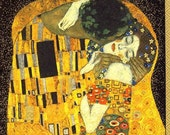 Gustav Klimt  - The Kiss art napkin Decoupage - black background