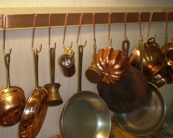 36 W x 5 D x 1-1/2 H Wall Mounted Brushed Finish SOLID COPPER Pot Rack & 12 Pot Hooks - FREE Shipping