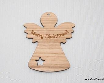 Christmas Angel with Star and Engraving / Christmas Decoration/ Christmas Tree Pendant (ash wood)