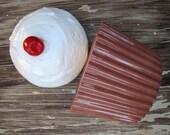 Vintage Cupcake Cookie Jar, Dessert Container, Art, Cup Cake, Ceramic, Retro MK Molds, Wedding Envelope Holder Box