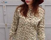 Super Cute Hippie 1970's Paisley Broadcloth Shirt Handmade