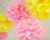 PINK LEMONADE / 6 Tissue Paper Pom Poms / 1st Birthday / Nursery Decor / Summer Party Decor / Crib Mobile / Gender Reveal / Baby Shower