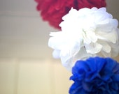 6 Cascading Tissue Paper Pom Poms / Red White and Blue or Your Choice 38 Colors / 2 Sets- 6 Poms / Hanging Party Decorations