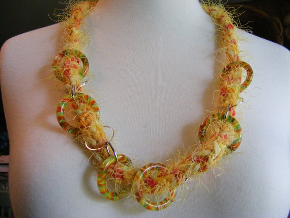 Textile Art Knitted Fiber Necklace with lucite citrus rings