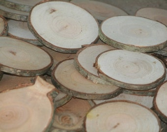 Rustic Wood Disc LARGE Tree Slices 100 Cherry Wood Blanks-Name Tags-Wedding Decor-Drink Coasters-Craft Blanks
