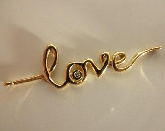 SALE - cz vermeil LOVE connector - gold vermeil connector - gold vermeil LOVE - gold vermeil pendant
