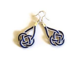 Nautical earrings, macrame, sailor knot, celtic knot, white & navy
