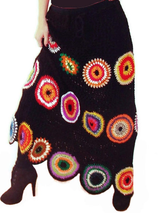 Boho Skirt, Gypsy Skirt, Long Skirt, Crochet, Geometric, Fall Skirt, OOAK