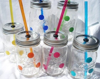 12  Mason Jar drinks Mix and Match Polka Dot Sippers with matching Reusable BPA Free Straws TWELVE
