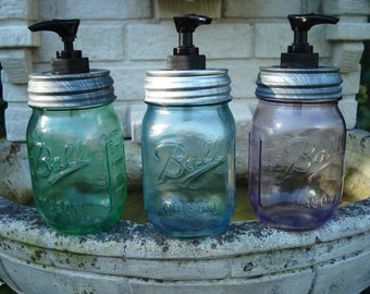 Vintage Tinted Mason Jar Hand Soap Lotion or Hand Sanitizer Dispenser in Turquoise, Lavendar, Mint Green 16z